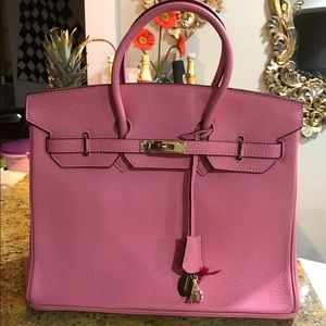 Birkin style pink tote bag